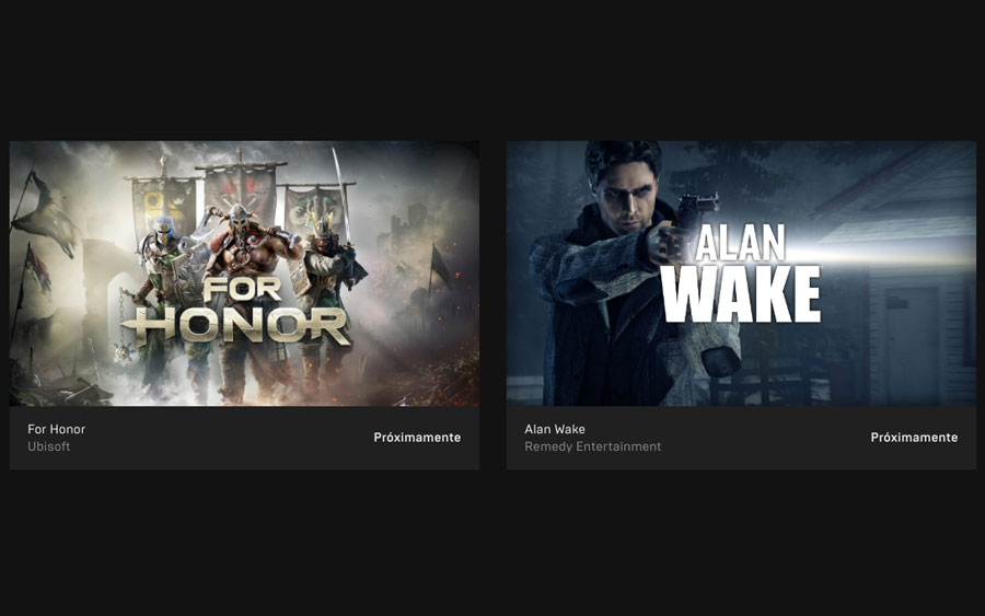 For Honor y Alan Wake Epic Games Store